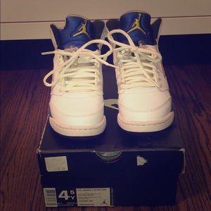 Jordan Shoes - Retro Jordan 5s in White/Varsity Royal Blue/Yellow